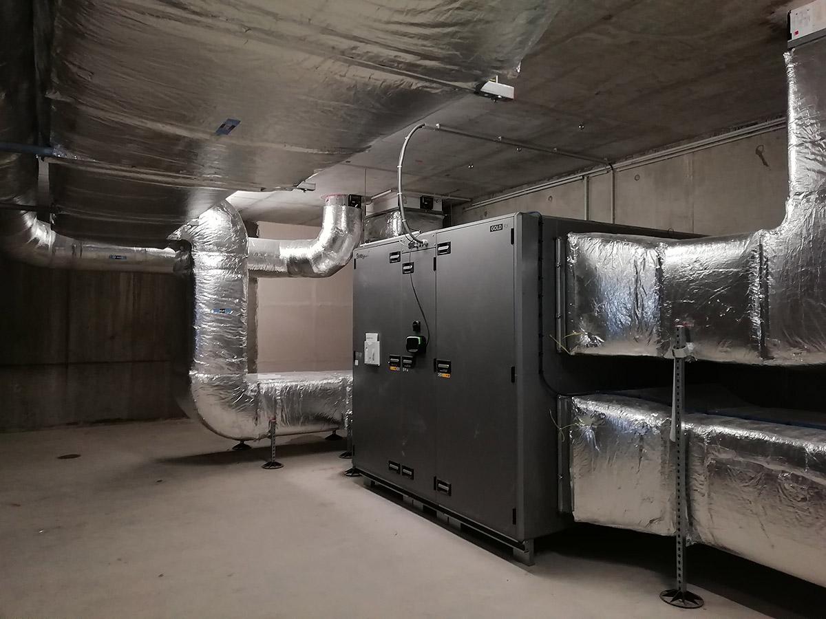 Ventilation DF de la zone vestiaires.